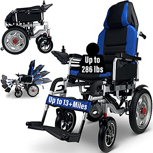 Foldable Electric Wheelchair for Adults, Comfortable Dual Motorized Power Wheelchairs, All Terrain...