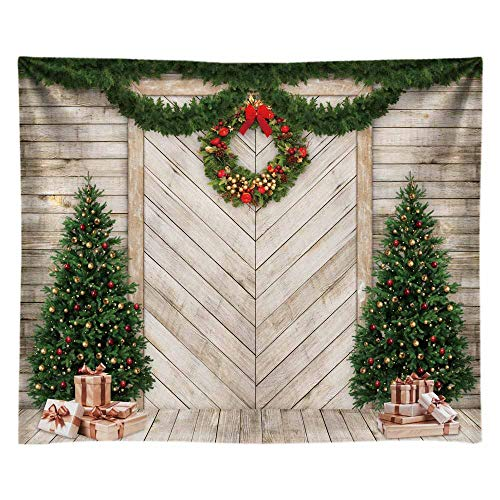 Funnytree 10x8FT Christmas Wood Door Photography Backdrop for Xmas Decoration Pine Tree Gifts Rustic House Background Photo Booth Shoot Durable Fabric Washable