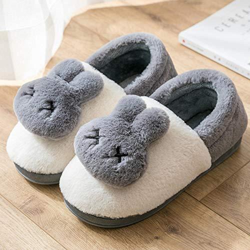 B/H Interior Casa Caliente Slippers,Pantuflas cálidas de Suela Gruesa, Pantuflas Antideslizantes de Piel para Hombres-M_39-40,Zapatos Antideslizante Pantuflas