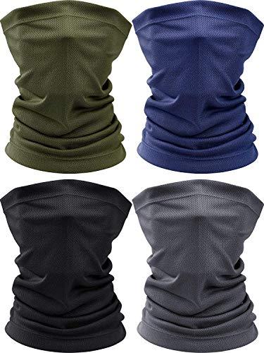 4 bufandas de verano para la cara, protección contra el polvo, transpirable, polaina para el cuello, resistente al viento, correr, pesca, ciclismo, bandana fresca (negro, verde, azul marino, gris)