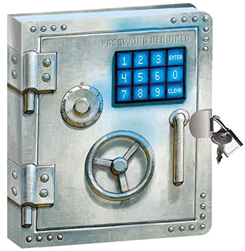 """Peaceable Kingdom Vault Door 6.25"""" Lock and Key, Lined Page Diary for Kids"""