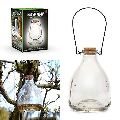 CKB LTD 1 x bouteille en verre avec crochet en métal traditionnel attrayant pour l'intérieur et l'extérieur CKB-WC01 Blanc