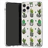 Lex Altern TPU Coque pour iPhone Apple 11 Pro XS Max XR 8 X 7 Plus 6s 5 Transparente Plantes d'intérieur Art Cactus Étui Vert Joli Fin Doux Kawaii Case Motif Téléphone Souple Léger Pot Mignon uk0989