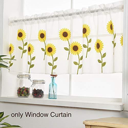 Sweet48 Cortinas de media cocina, bordadas a mano, diseño de girasoles, cortinas de poliéster natural para cocina, cenefa de ventana corta estilo rural, As Picture Show, 100 x 50 cm
