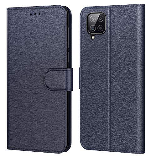 Tenphone Schutzhülle für Samsung Galaxy A12, Schutzhülle Premium aus PU-Leder, Magnetverschluss, Flip Case, kompatibel mit Samsung A12, Book Blau