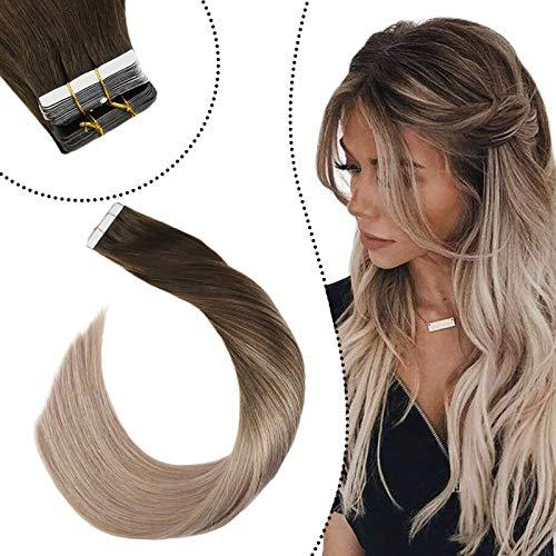 Ugeat Balayage Haarverlangerung mit Tape Extensions Dunkelbraune und Aschblond Bala#2/18 Glue in Seamless Skin Wefts Echthaar Doulbe Sided Unsichtbar Tabs (60cm, 50Gramm/20Stuck)