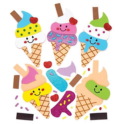 Baker Ross- Kits de imanes combinables en forma de helado (Pack de 6) - Actividad de manualidades infantiles para combinar y adherir a la nevera u otra superficie metálica ✅