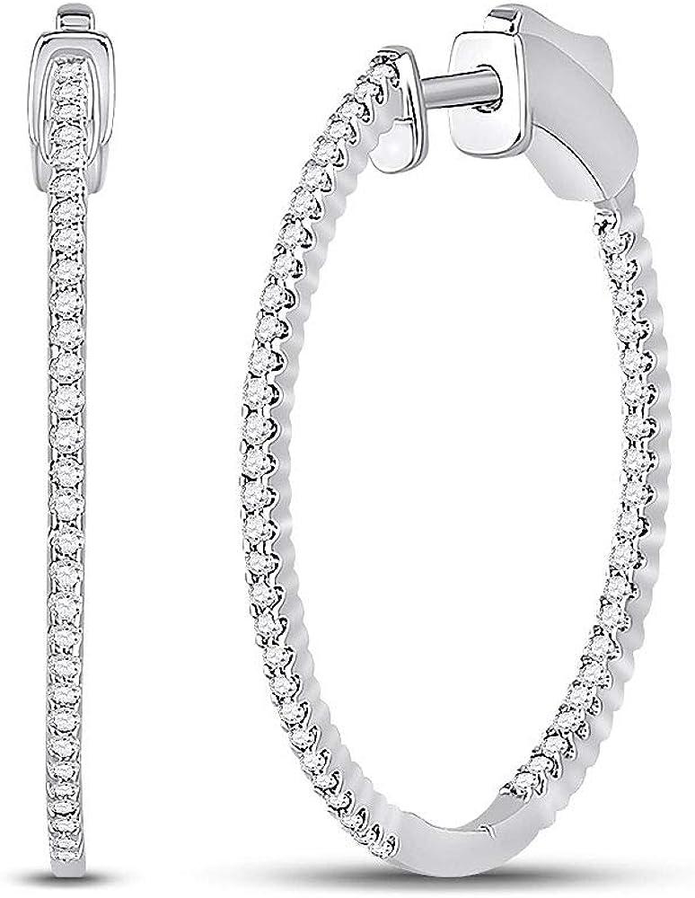14kt White Gold SALENEW very Max 44% OFF popular Womens Round Hoop Inside-Outside Diamond Earring