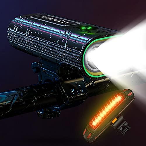 2021 actualizado 7000 lúmenes Super brillante grande luces LED delanteras y traseras, potente USB recargable faro de bicicleta 16 modos de funcionamiento 18 horas más de la bici, luz trasera impermeable para ciclismo de montaña