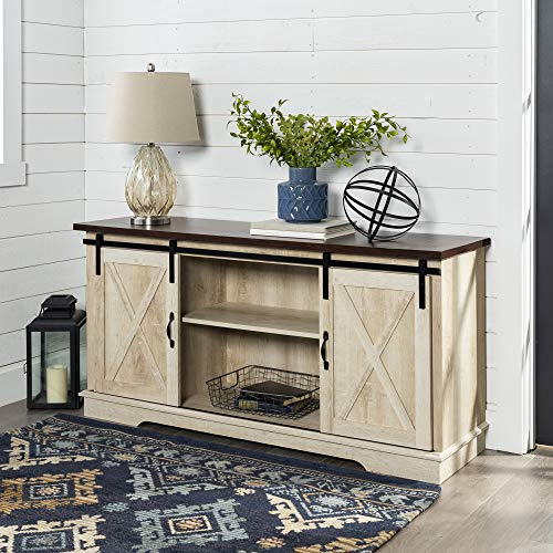 "Walker Edison Furniture Company Modern Farmhouse Sliding Barndoor Wood Stand for TV's up to 65"" Flat Screen Cabinet Door Living Room Storage Entertainment Center, 28 Inches Tall, White Oak"