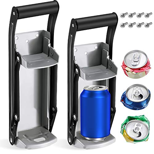 2 Pieces 12 oz 16 oz Steel Can Crusher Wall Mounted Soda Beer Smasher Bottle Opener for Recycling Aluminum Plastic Bottles Soda Beer Cans Water Bottles