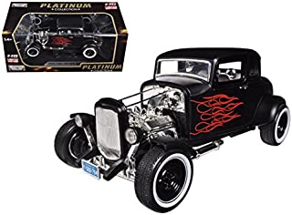 1932 Ford Hot Rod Matt Black with Flames Limited Edition/Platinum Collection 1/18 Model Car by Motormax