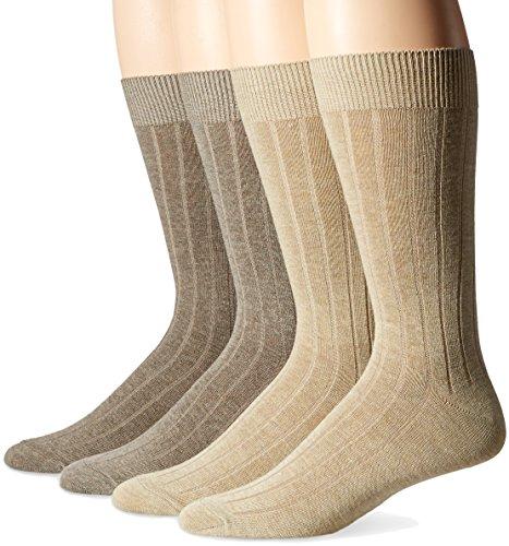 Dockers Men's Wide Rib Dress Crew Socks (4 & 8 Packs), Khaki Assorted (4 Pack), Shoe Size: 6-12