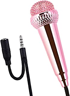 Universal 3.5mm Com Fio Mini Microfone Celular Microfone Estéreo Para Cantar Telefone - Rosa vermelha