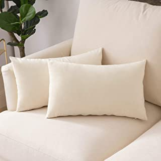 Woaboy Pack of 2 Velvet Throw Pillow Covers Decorative Pillowcases Solid Soft Cushion Covers Pillow Case Square Cojines for Couch Living Room Sofa Bedroom Car 12x20 inch 30x50cm Cream White
