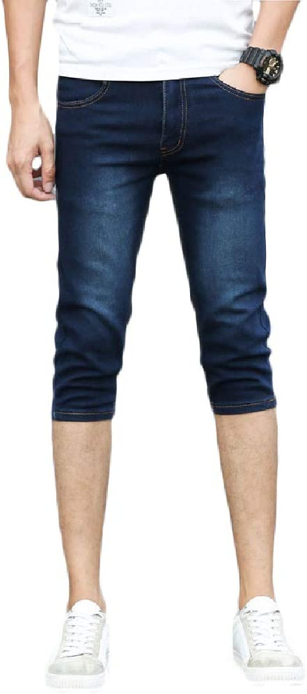 Doufine Men Clothes Pantalones Cortos De Mezclilla Para Hombre Ajustados Estilo Capri Elasticos Informales Para Verano Amazon Com Mx Ropa Zapatos Y Accesorios