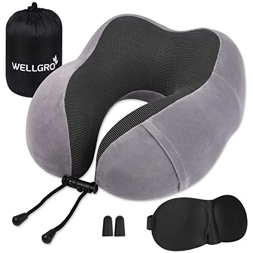 WELLGRO Nackenkissen Set mit 3D Schlafmaske und Ohrstöpsel - Abnehmbarer Bezug - Memory Schaum - Reißverschluss - inkl. Aufbewahrungstasche - Reisekissen - Farbe wählbar, Farbe:Grau