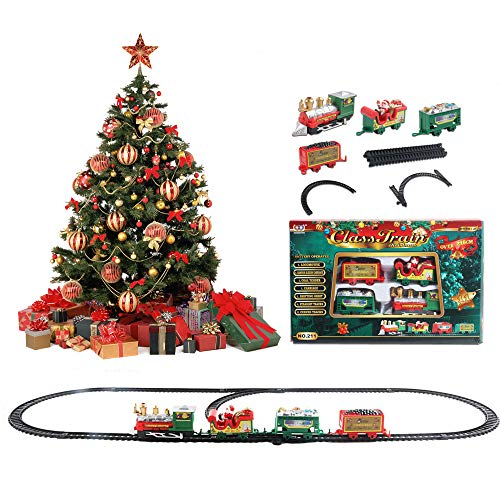 JAMAN Juego de tren eléctrico de Navidad, mini tren de Papá Noel...