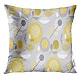 VANMI Throw Pillow Cover Abstract Floral Creative Pale Color Sixties Modern Geometry Flower Pastel Gray and Yellow Daisy in 60S Decorative Pillow Case Home Decor Square 16x16 Inches Pillowcase