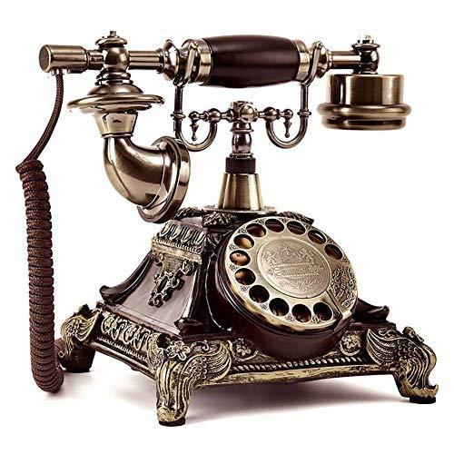 Ldlzjdh Festnetz Schnurgebundenes Telefon Europäisches antikes Telefon Weinlesetelefon-Wählscheibe-Festnetztelefon mit Wahlwiederholungsfunktion Harz und Metallimitatkupfer Haustelefon Festnetz