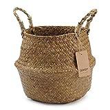 DOKOT Vaso per piante aromatiche con cesto di vimini Seagrass con manico Deposito per giocattoli (8.7 x 7.9 '', naturale)