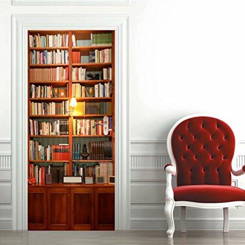 Tifege 3D Door Sticker Wall Decals Mural Wallpaper Retro Bookcase DIY Art Home Decor Decoration product image