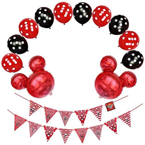 Baipin Decoraciones de Cumpleaños de Mickey Mouse, Globos de látex Rojo Negro y Banner de Happy Birthday para Mickey Party Baby Shower Fiestas de Cumpleaños
