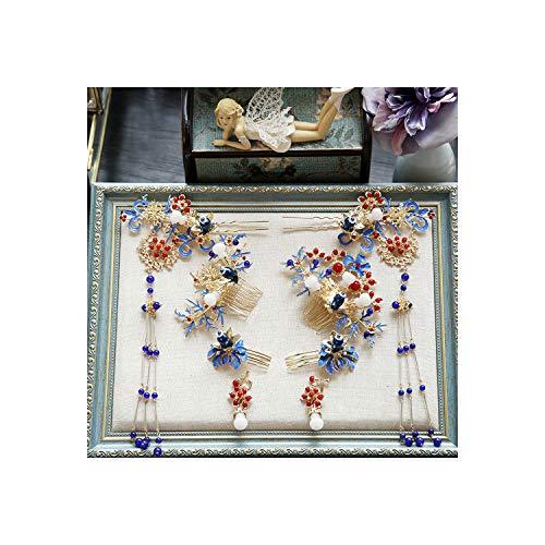 Haar Sticks- Chinese Cloisonne Phoenix Kroon Ornament Oude Kostuum Haarspeld Klassieke Bruiloft Draak Haar Kleur