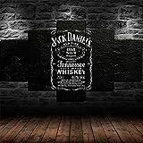 72Tdfc Decoración De Pared Cartel para Sala De Estar Moderno HD Impreso 5 Paneles Pared Arte Hogar Decoración Lienzo Pintura Whisky De Jack Daniels Tennessee