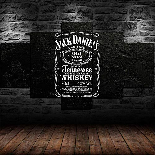YOUQIANREN Lienzo Pintura Wall Arte De La Pared 5 Piezas Whisky de Jack Daniels Tennessee Cartel Impreso Decoracion ImáGenes Salon Dormitorio Dondo De Pantalla con Marco(150cmx80cm)