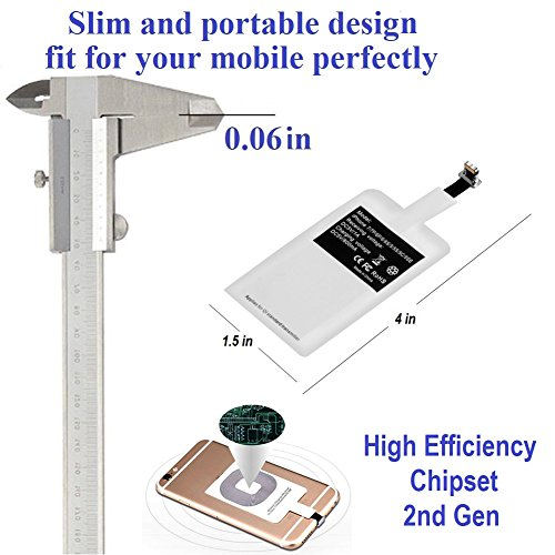 Smart Electronic Solutions Wireless Charger Charging Receiver for iPhone 6/6S/6 Plus/6S Plus/5/5S/5C Improved Qi Adapter Coil Patch Module Ultra Slim Fast Speed