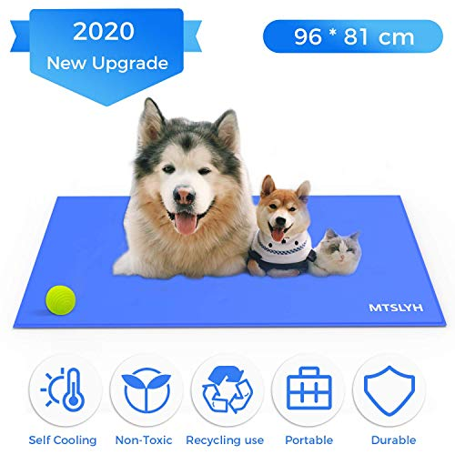 Yerloa Pet Cooling Mat Haustier kühlmatte Kühlmatte für Hund & Katze Haustier Eismatte Selbstkühlende Matte Hunde Matte Haustier Matte für Kisten, Hundehütten und Betten (96 * 81cm)