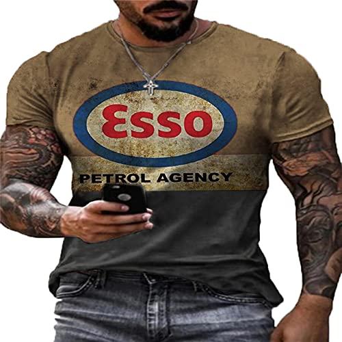 Camiseta Retro de Aceite de Motor para Hombre, Camiseta con Estampado de Letras a la Moda, Camisetas Harajuku de Manga Corta