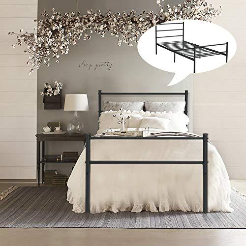 FurnitureR Cama Individual Armazón de Cama de Metal de fácil Montaje con cabecera y pie de Cama, sin Funda de colchón, Listones Resistentes mejorados Negro