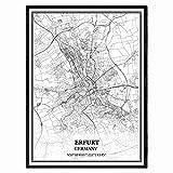 Erfurt Deutschland Karte Wandkunst Leinwand drucken Poster