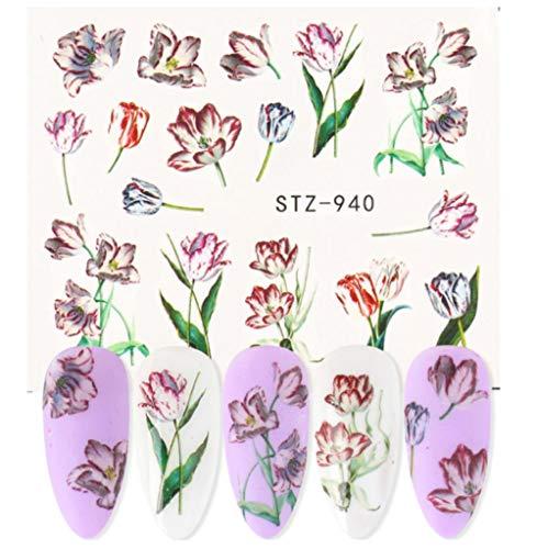 JSIYU Stickers Ongle Série de Fleurs Nail Water Decal Sticker Floral Sakura Daisy Rose Leaf Transfer Slider Foil Nail Decoration G-Y03