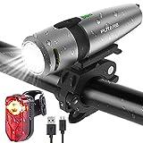 PUTARE 【2020 Neuestes Modell】 Fahrradlicht Set, USB Wiederaufladbare Fahrrad Licht,Mit 2 Leuchtmodi IPX5 Wasserdicht Fahrradbeleuchtung,Ultra-Bright Fahrradlampe mit Frontlicht und Rücklicht