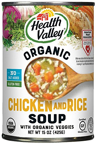 Health Valley Organic Soup, No Salt Added, Chicken & Rice, 15 Oz (Pack of 12)