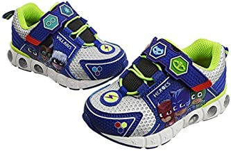 PJ Masks Toddler Shoes,Light Up Tennis Sneaker,Rubber Hard Bottom,Toddler/Kids Sizes 5 to 10 (Blue Silver, Numeric_5)