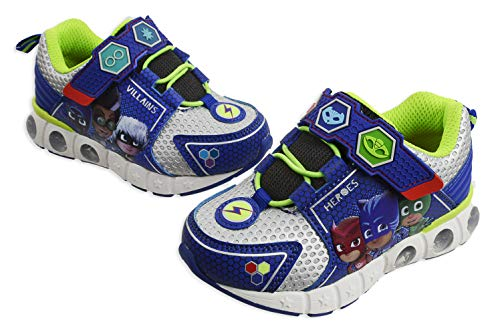 PJ Masks Toddler Shoes,Light Up Tennis Sneaker,Rubber Hard Bottom,Toddler/Kids Sizes 5 to 10 (Blue Silver, Numeric_9)