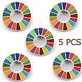 SDGs バッジ ピンバッチ バッヂ 高級 SDGs ピンバッジ 珐琅彩 最新仕様 ピンバッジの留め具 銀色5個 人気 おしゃれ ギフト TSDG