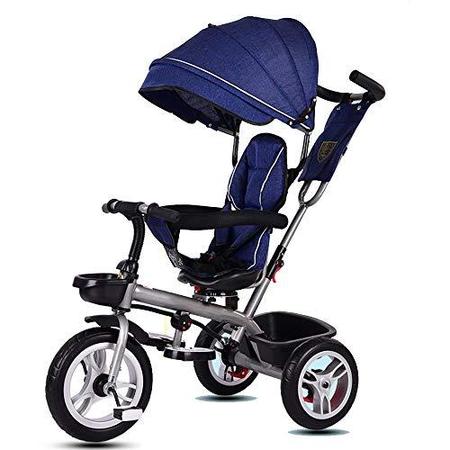 YumEIGE driewielers belasting 50 kg, 1-6 jaar oud, standaard kinderwagen Titan Empty wiel, koolstofstalen frame draaibare zitting, kinderwagen voor U-vormige schuiver. Light blue Foam wheel