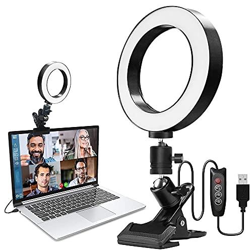 """Videokonferenz Licht, Licht Videokonferenz, Beleuchtung Videokonferenz, 6\"""" Selfie Ringleuchte für Monitor-Clip-On, für Fernarbeit, Fernunterricht, Live-Streaming, Computer Laptop Videokonferenzen"""