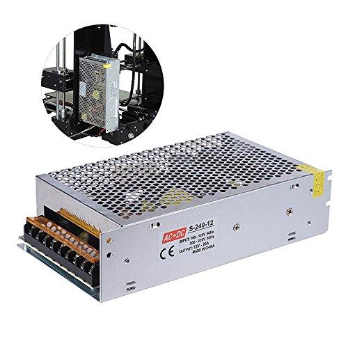 Aibecy Alimentazione per Stampante 3D - AC 110V/220V to DC 12V 240W 20A Accessorio per Stampanti 3D,Trasformatore Adattatore Centralizzato di Monitoraggio a Doppio Ingresso per il Kit di Stampante 3D