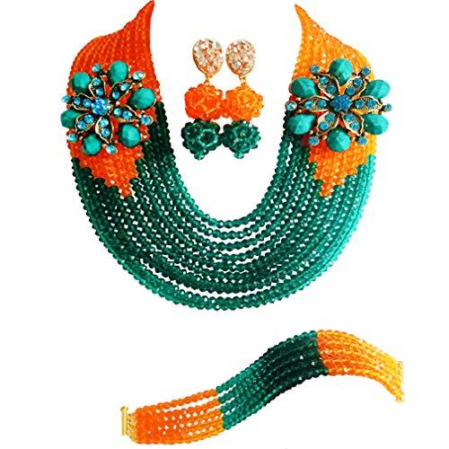 laanc niña de Nigeria Juego de África joyas de boda 10filas), color verde y naranja cristal collar pulsera pendientes