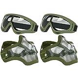 AOUTACC Juego de máscara y gafas de Airsoft, máscara de malla de acero de media cara y gafas para CS/caza/paintball/disparo (2 unidades OD Skull)