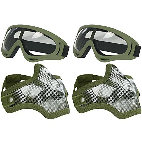 AoutACC Set di maschere e occhiali per softair a metà viso, completo in maglia d'acciaio e occhiali per CS/Caccia/Paintball/Shooting (confezione da 2)