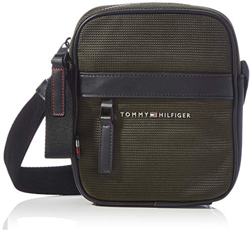 Tommy Hilfiger Elevated Nylon Mini Reporter, Bolsas. para Hombre, verde camuflaje, One Size