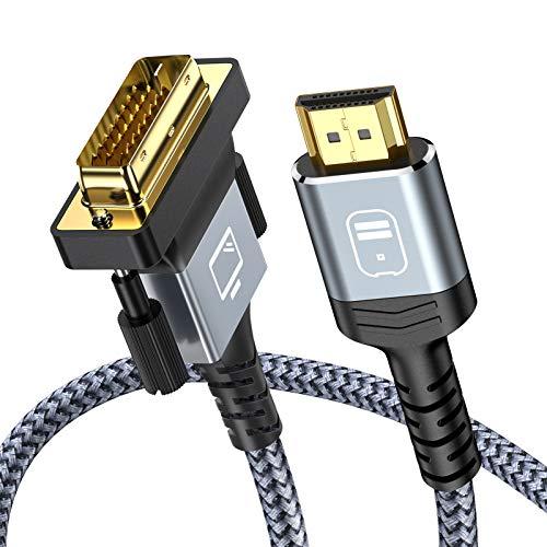 Cavo HDMI a DVI 1m, Snowkids Bi-Direzionale Cavo HDMI DVI maschio, Alta Velocità Cavo adattatore HDMI a DVI intrecciato in nylon, supporto 1080P, 3D per Xb 360,PS4 3,HDTV a DVI-D 24+1 Pin