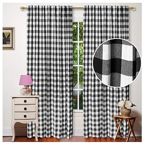 Window Panels Curtain in Check Cotton Fabric 50x96 Black&White, Set of 2,Farmhouse Curtain, Tab Top Curtains, Room Darkening ,Curtains for Bedroom, Curtains for Living Room, Curtains